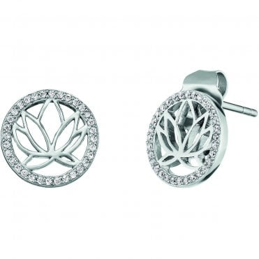Silver and CZ Lotus Flower Stud Earrings