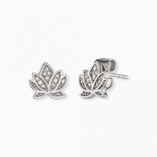 Engelsrufer Silver and CZ Lotus Flower Stud Earrings