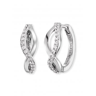 Silver and CZ Paradise Hoop Earrings