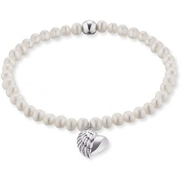 Silver and Pearl Heartwing Bracelet