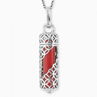 Silver and Red Jasper Power Stone Pendant Necklace