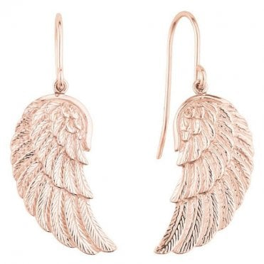 Silver and Rose Gold Angel Wing Drop Earrings
