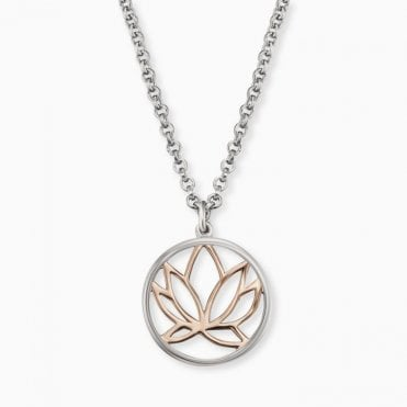 Silver and Rose Gold Lotus Flower Necklace