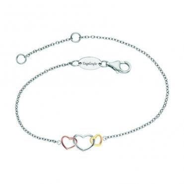 Silver, Gold and Rose Gold Three Heart Bracelet