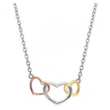 Silver, Gold and Rose Gold Three Heart Necklace