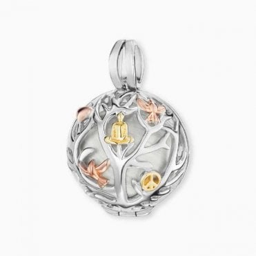 Silver, Yellow Gold and Rose Gold Tree of Life Pendant Locket