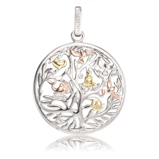 Engelsrufer Silver, Yellow Gold and Rose Gold Tree of Life Pendant