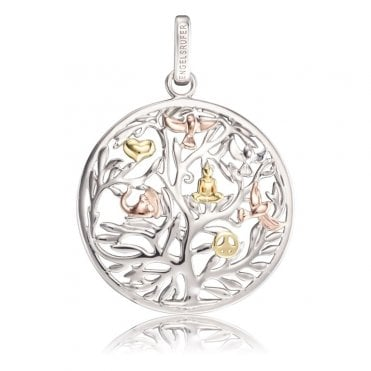 Silver, Yellow Gold and Rose Gold Tree of Life Pendant