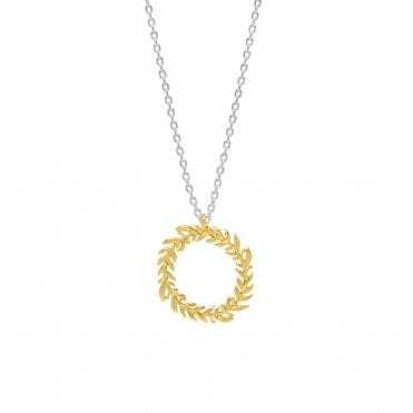 18 Carat Gold and Silver Plated Olive Wreath Circular Necklace