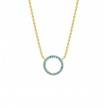 18 Carat Gold Plated Aqua Blue CZ Circular Necklace