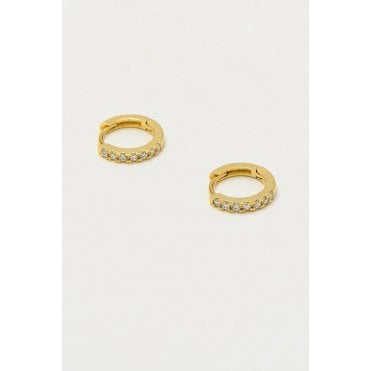18 Carat Gold Plated CZ Huggie Hoop Earrings