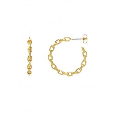 18 Carat Yellow Gold Plated Chain Link Hoop Earrings