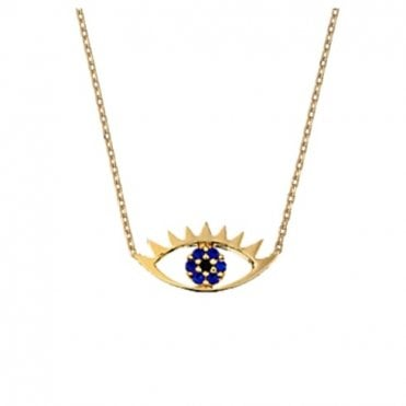 18 Carat Yellow Gold Plated Eye Necklace with Blue CZ