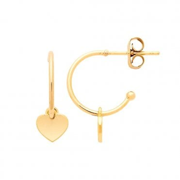 18 Carat Yellow Gold Plated Heart Hoop Earrings