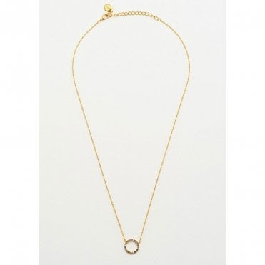 18 Carat Yellow Gold Plated Hoop Necklace with Rainbow CZ