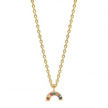 Gold and Multicoloured CZ Mini Rainbow Pendant Necklace