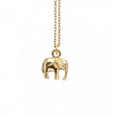 Gold Lucky Elephant Pendant Necklace