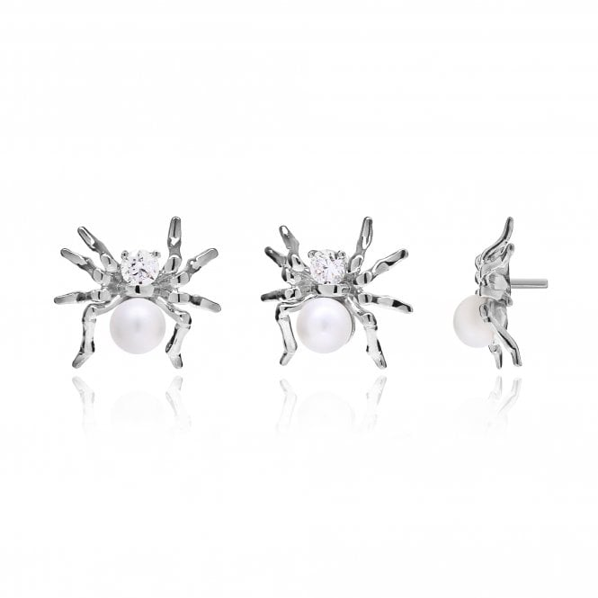 Aranyani Silver, CZ & Pearl Spider Necklace Charm