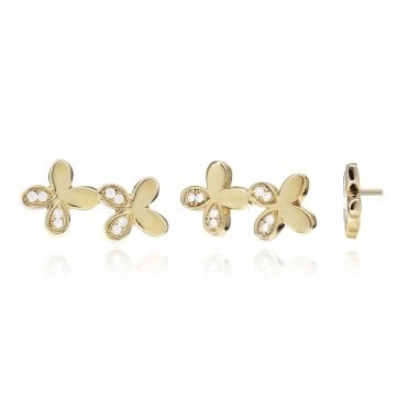 Aranyani Yellow Gold & CZ Flower Necklace Charm
