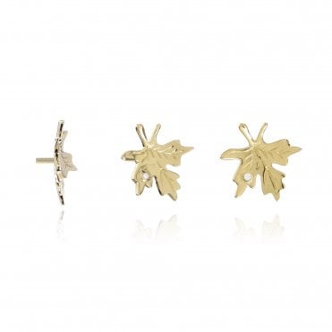 Aranyani Yellow Gold & CZ Maple Leaf Necklace Charm