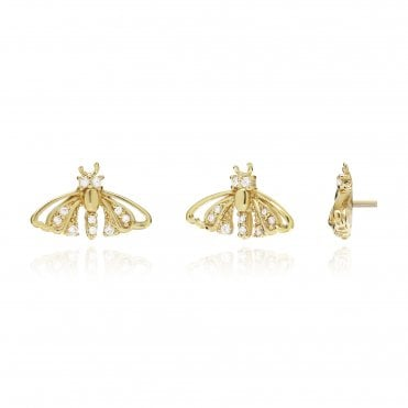 Aranyani Yellow Gold & CZ Moth Necklace Charm