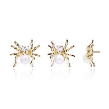 Aranyani Yellow Gold, CZ & Pearl Spider Necklace Charm