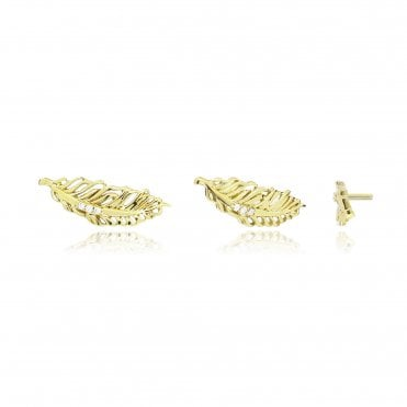 Aranyani Yellow Gold Feather Necklace Charm