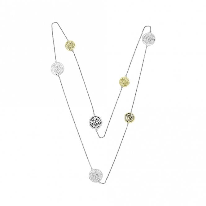 Grace & Co Dreamcatcher Multi Disc Silver and Gold Necklace