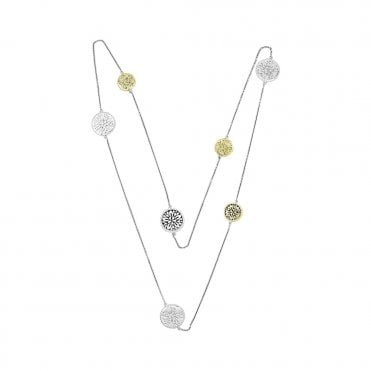 Dreamcatcher Multi Disc Silver and Gold Necklace