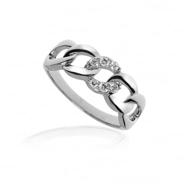 Silver & CZ Chain Link Ring Size L