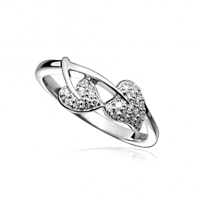 Grace & Co Silver & CZ Double Heart Leaf Ring Size L