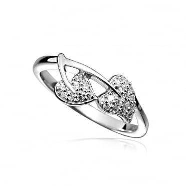 Silver & CZ Double Heart Leaf Ring Size L