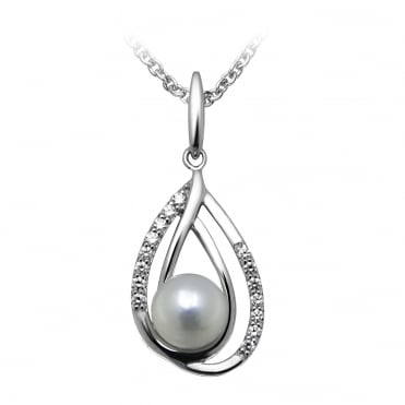 Silver & CZ Double Loop Pearl Pendant Necklace