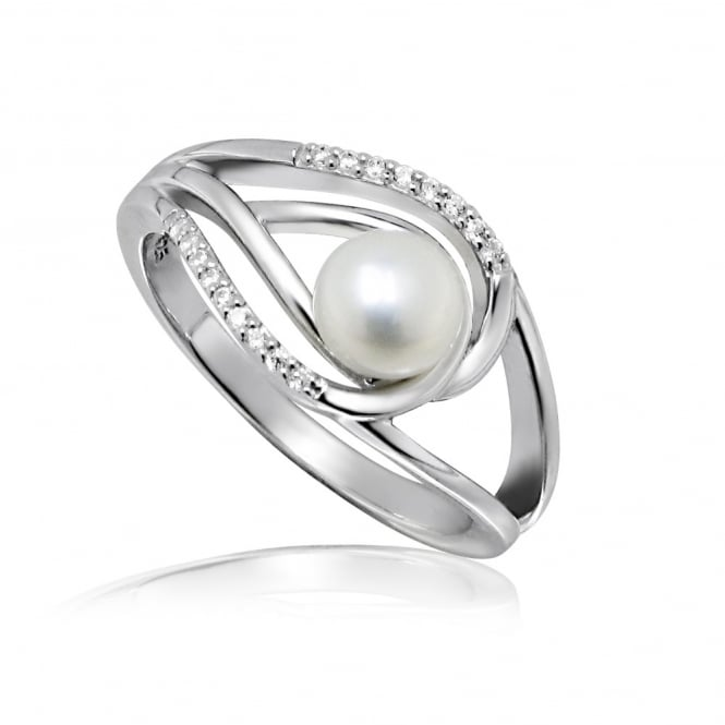 Grace & Co Silver & CZ Double Loop Pearl Ring Size N
