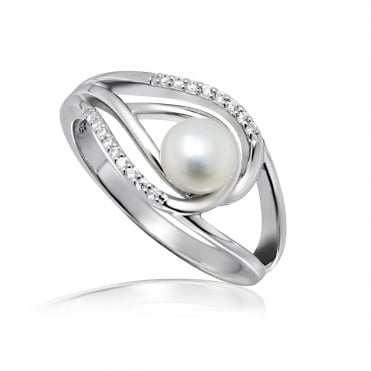 Silver & CZ Double Loop Pearl Ring Size N
