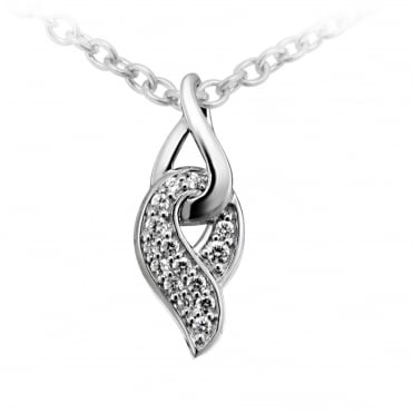 Silver & CZ Entwined Twist Pendant Necklace
