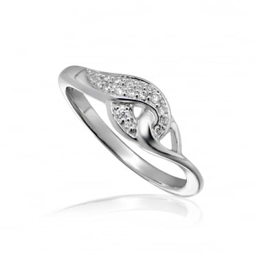 Silver & CZ Entwined Twist Ring Size P