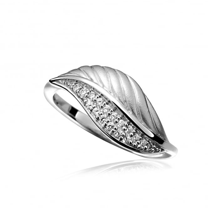 Grace & Co Silver & CZ Leaf Ring Size L