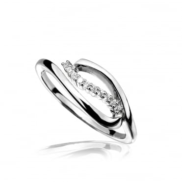 Silver & CZ Open Leaf Ring Size P