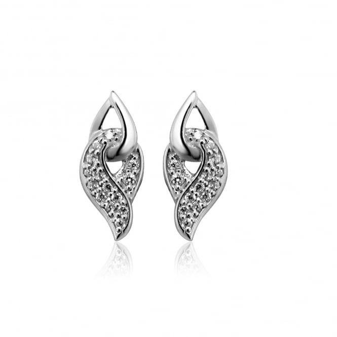 Grace & Co Silver & CZ Twist Stud Earrings