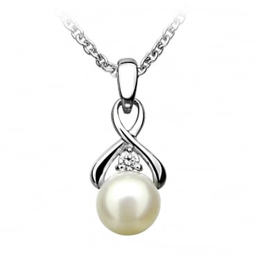 Silver Infinity Pearl & CZ Pendant Necklace
