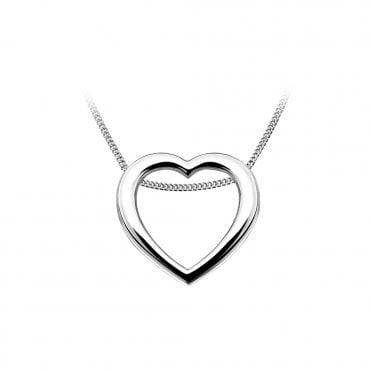 Silver Openwork Heart Pendant Necklace