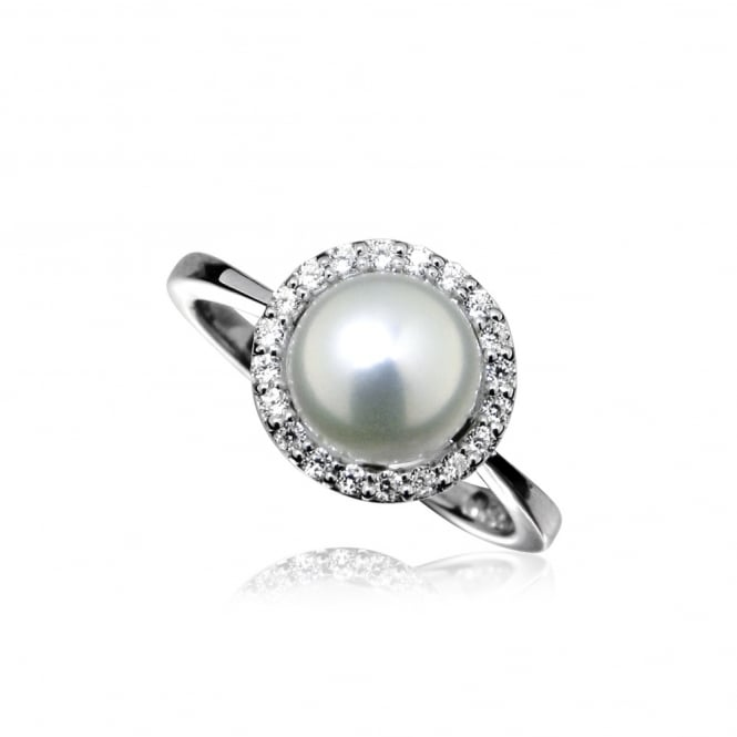 Grace & Co Silver, Pearl & CZ Surround Ring Size L