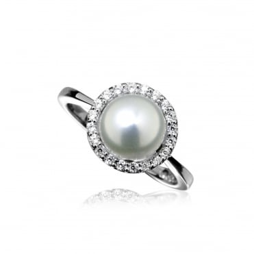 Silver, Pearl & CZ Surround Ring Size P