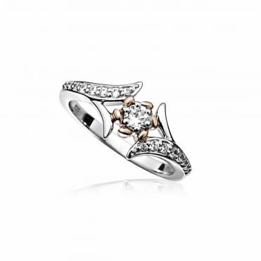 Silver, Rose Gold & CZ Flower Twist Ring Size N