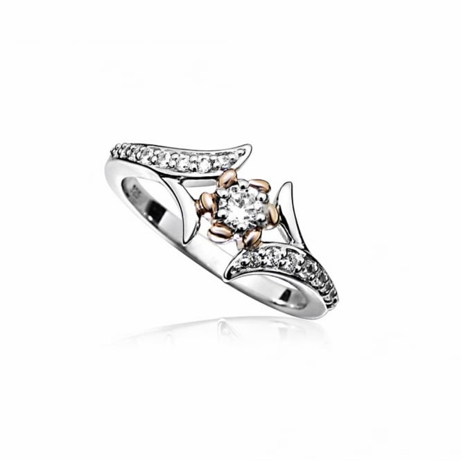 Grace & Co Silver, Rose Gold & CZ Flower Twist Ring Size P
