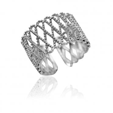 Lace Silver Cross Hatch Ring, 51