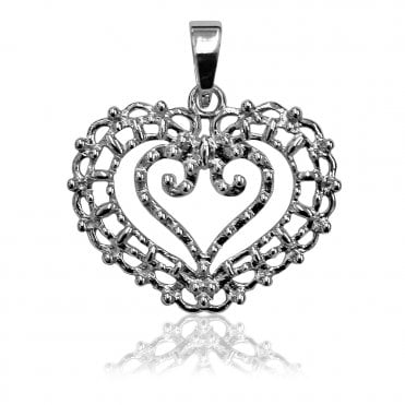 Lace Silver Heart In Heart Pendant Necklace