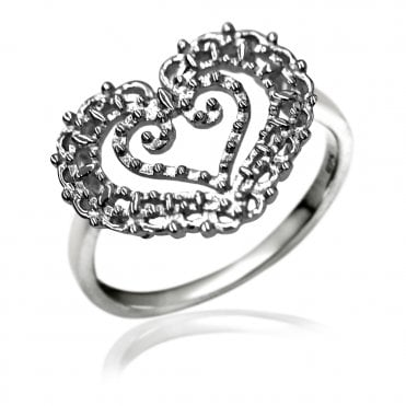 Lace Silver Heart In Heart Ring, 53