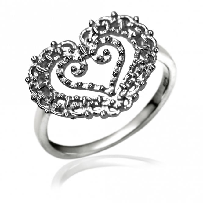 Grace & Co Lace Silver Heart In Heart Ring, 56
